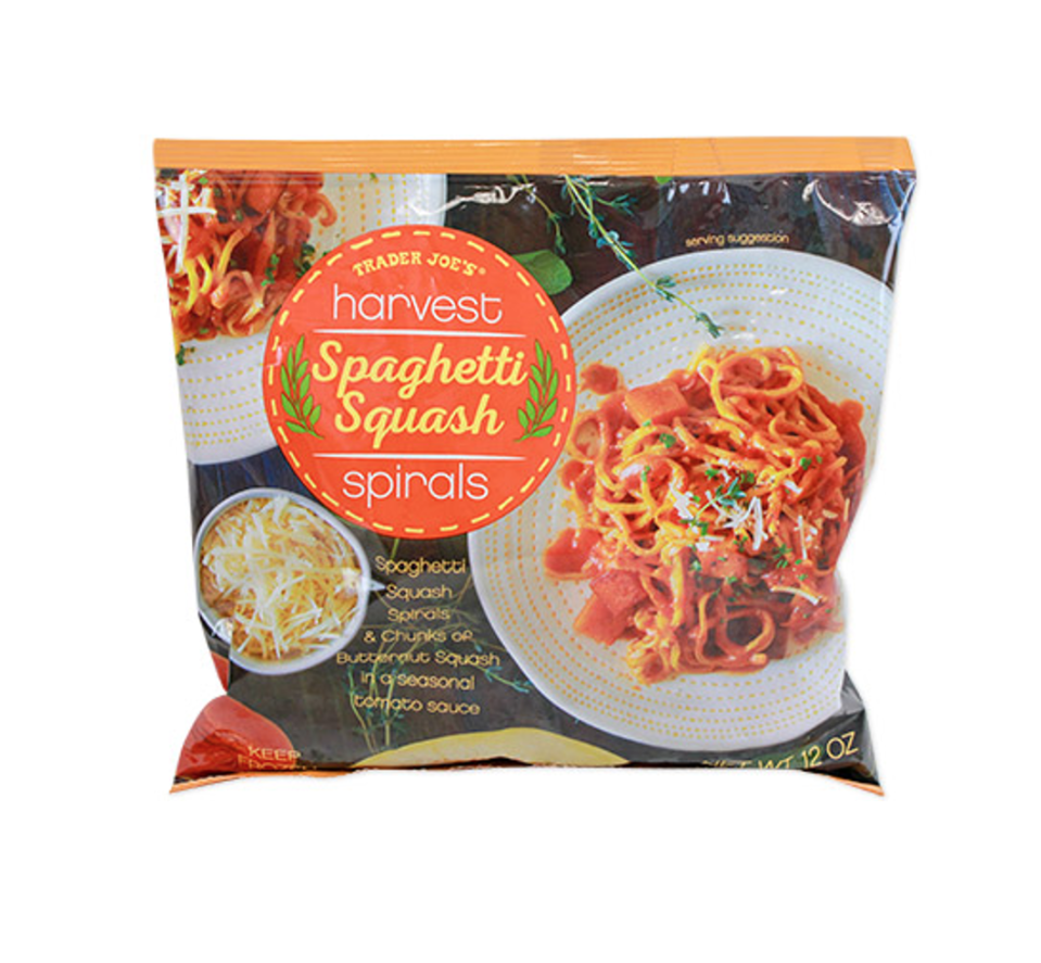 <p><strong>Cutting and shredding spaghetti squash can take a lot of manpower, but this frozen option does the hard work for you. </strong>TJ's cooks and shreds the squash, then twists them into small nests which you can prepare at home in less than ten minutes. It's the perfect veggie-forward option with a seasonal tomato sauce too. </p><p><strong><em>RD Pick</em></strong></p>