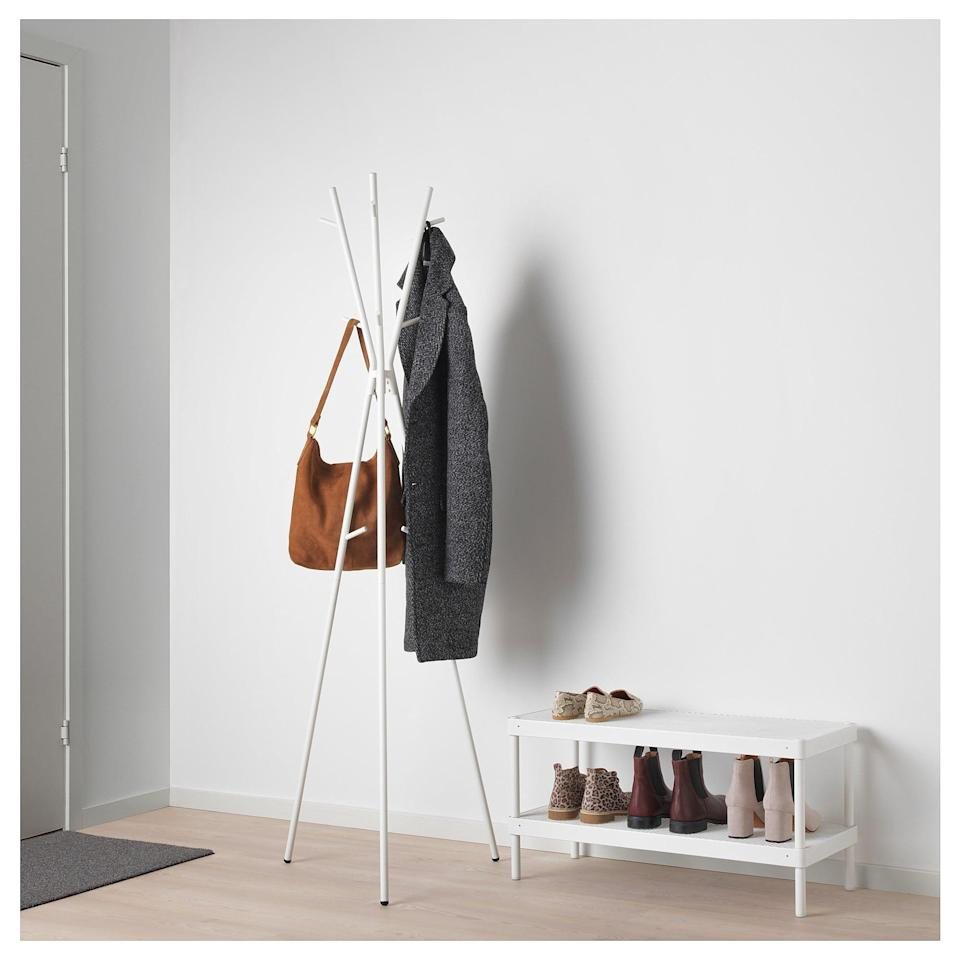 <p>Instead of throwing your coats on your floor, the <span>Ekrar Hat and Coat Stand </span> ($20) can be a great solution!</p>