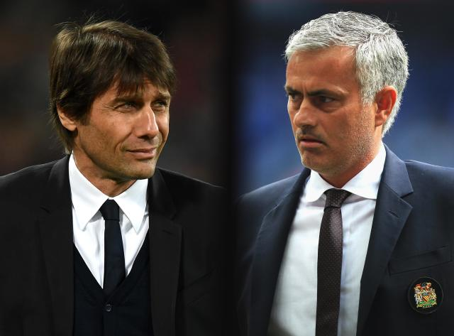 "<a class=""link rapid-noclick-resp"" href=""/soccer/teams/chelsea/"" data-ylk=""slk:Chelsea"">Chelsea</a>'s Antonio Conte (left) and <a class=""link rapid-noclick-resp"" href=""/soccer/teams/manchester-united/"" data-ylk=""slk:Manchester United"">Manchester United</a>'s Jose Mourinho won't stop trading insults. (Getty)"