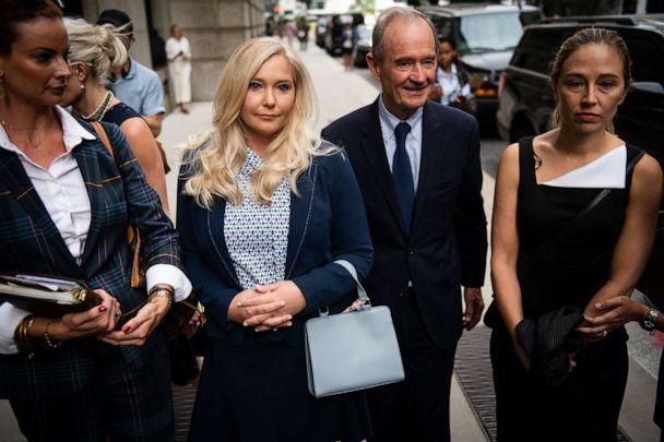 PHOTO: Virginia Giuffre, second left, and Annie Farmer, right, arrive to federal court in New york, Aug. 27, 2019. (Bloomberg via Getty Images, FILE)