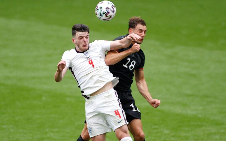 Declan Rice in action with Germany's Leon Goretzka - Reuters