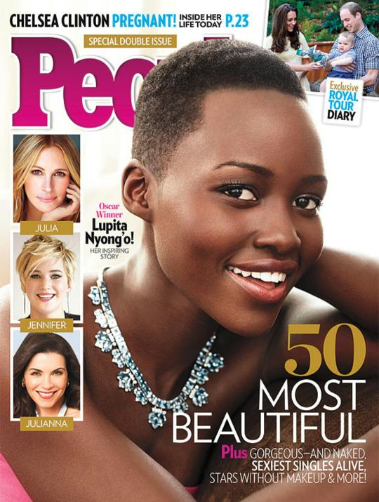 """<p>In 2014, Lupita Nyong'o was just the third black woman to be featured on the cover and the first with a distinctly African look. """"I was happy for all the girls who would see me on [it] and feel a little more seen,"""" the Kenyan-Mexican actress said. """"Light skin and long, flowing, straight hair. Subconsciously you start to appreciate those things more than what you possess,"""" she said, adding that her mother """"always said I was beautiful, and I finally believed her at some point.""""</p>"""
