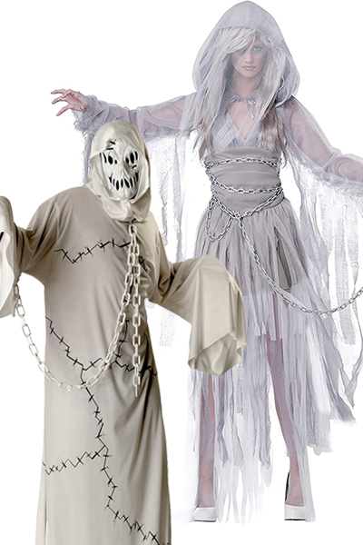 """<p>Since there will be plenty of goblins at the party, you might as well dress as their other ghoulish counterpart, chains and creepy masks included. </p><p><a class=""""link rapid-noclick-resp"""" href=""""https://www.amazon.com/Rubies-Costume-Ghoul-White-Standard/dp/B000VO7792/?tag=syn-yahoo-20&ascsubtag=%5Bartid%7C10055.g.33300823%5Bsrc%7Cyahoo-us"""" rel=""""nofollow noopener"""" target=""""_blank"""" data-ylk=""""slk:SHOP MEN'S COSTUME"""">SHOP MEN'S COSTUME</a></p><p><a class=""""link rapid-noclick-resp"""" href=""""https://www.amazon.com/California-Costumes-Womens-Haunting-Costume/dp/B00IUTGDSG/?tag=syn-yahoo-20&ascsubtag=%5Bartid%7C10055.g.33300823%5Bsrc%7Cyahoo-us"""" rel=""""nofollow noopener"""" target=""""_blank"""" data-ylk=""""slk:SHOP WOMEN'S COSTUME"""">SHOP WOMEN'S COSTUME</a></p>"""