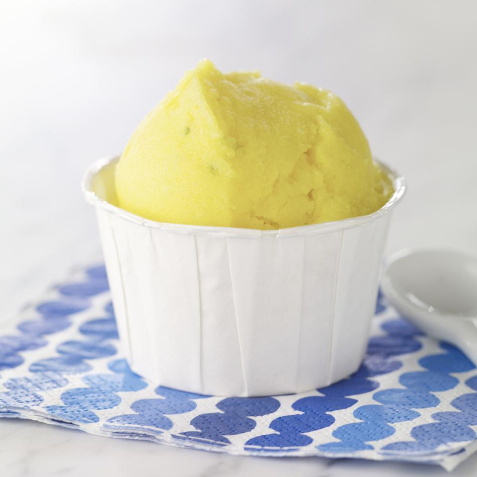 <p>It couldn't be any easier to make sorbet. Just combine fruit, sugar and juice and escape to the tropics with this mango sorbet recipe flavored with lime. For a fun presentation, sprinkle with toasted coconut before serving.</p>