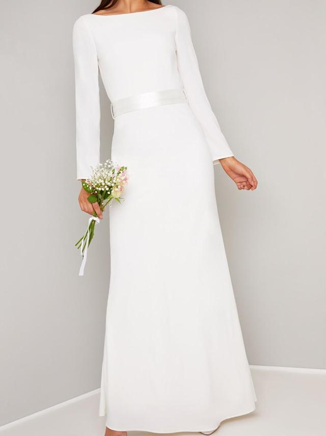 Chi Chi London's 'Meghan' frock, £75, features the same long sleeves and boat neck [Image: Chi Chi London]