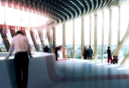 Computer generated image made available by Bordeaux's City Hall of the belvedere at the future Wine Culture and Tourism centre of Bordeaux, designed by architecture agency X-TU from Paris and the scenography agency Casson Mann from London, scheduled to open its doors in 2014