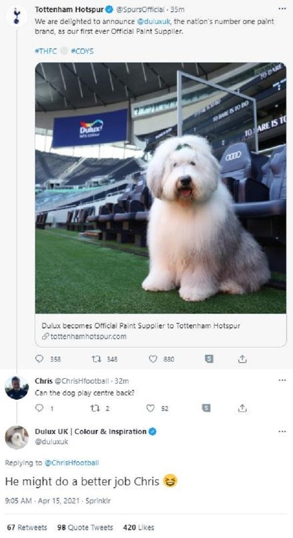 Dulux's social media team made fun of their new their new partners on Twitter