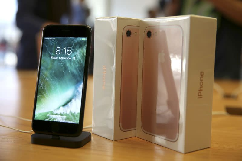 FILE PHOTO - The new iPhone 7 smartphone goes on sale inside an Apple Inc. store in Los Angeles