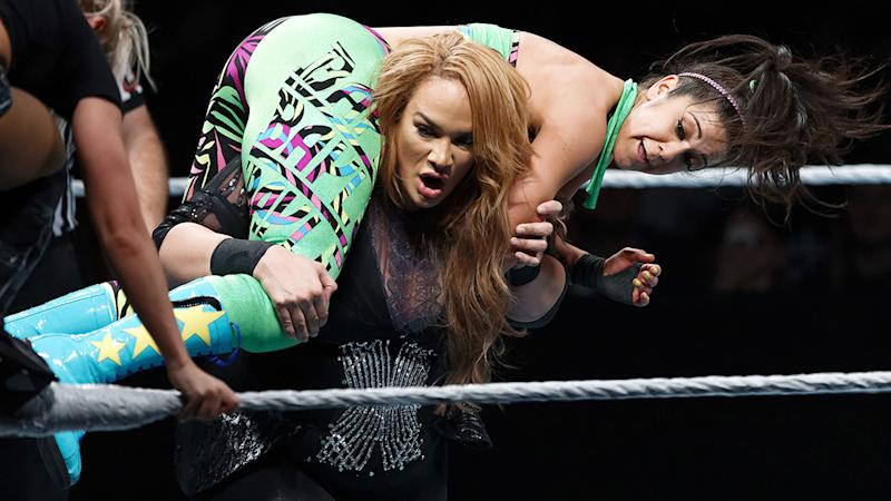 Nia Jax, pictured here in action against Bayley during WWE in May 2019.