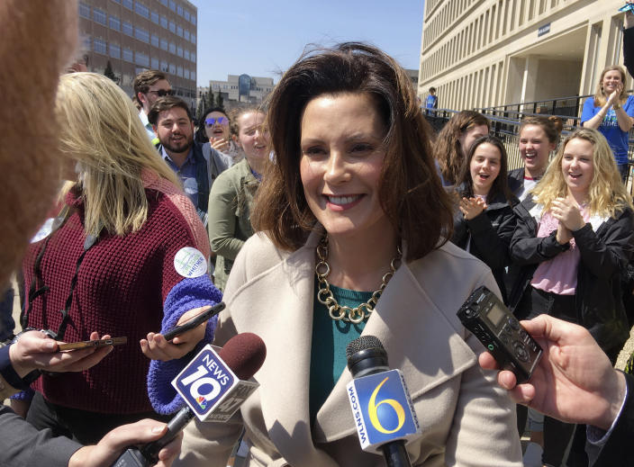 Michigan Democratic gubernatorial candidate Gretchen Whitmer speaks with reporters outside the state elections bureau in Lansing, Mich., on April 12, 2018. Whitmer faces Shri Thanedar and Abdul El-Sayed in the Aug. 7, 2018, primary. (Photo: David Eggert/AP)