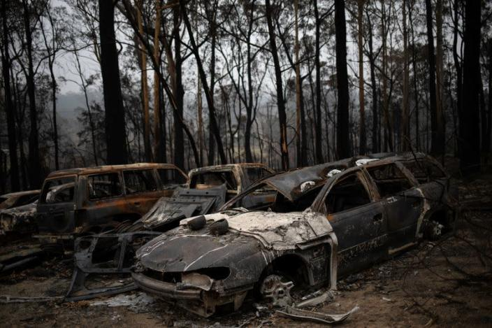 Destroyed cars are seen next to burnt bushland in the village of Mogo