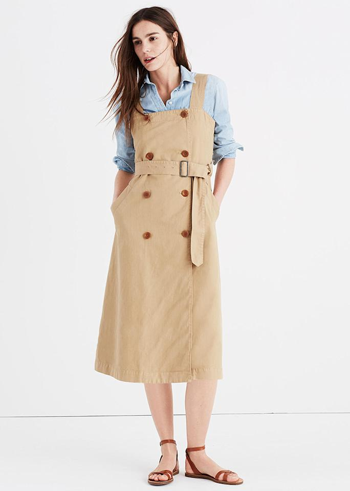 """Madewell Khaki Trench Dress, $138; at <a rel=""""nofollow"""" href=""""https://www.madewell.com/p/G2562"""" rel="""""""">Madewell</a>"""