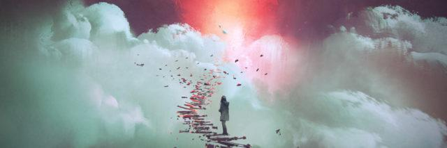 Woman standing on broken stairs in the clouds.