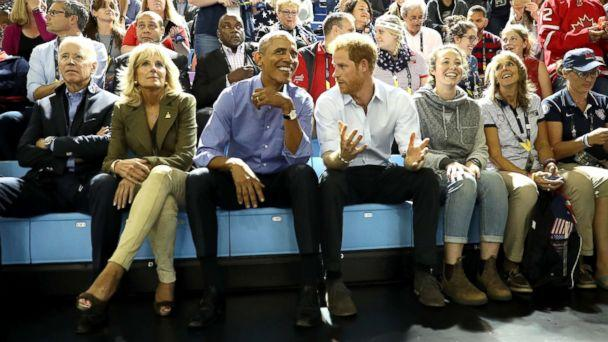 PHOTO: Pictured (L-R) are former Vice President Joe Biden, former second lady Jill Biden, former President Barack Obama and Prince Harry on day 7 of the Invictus Games 2017, Sept. 29, 2017 in Toronto. (Chris Jackson/Getty Images)