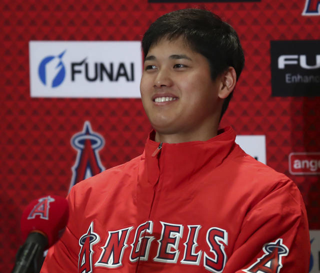 Los Angeles Angels' Shohei Ohtani smiles during a media conference on Wednesday, Feb. 14, 2018, in Tempe, Ariz. (AP)