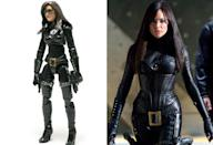 <p>Sienna Miller's 'G.I. Joe: The Rise of Cobra' baddie Baroness blends awkward bendable limbs, insane proportions, and a face that looks nothing like the actress. It's the awfulness trifecta! (Photo: Hasbro/Everett)</p>