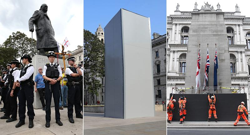 The Cenotaph and status of Winston Churchill have been boarded up amid concerns of violent protests. (Getty/PA)