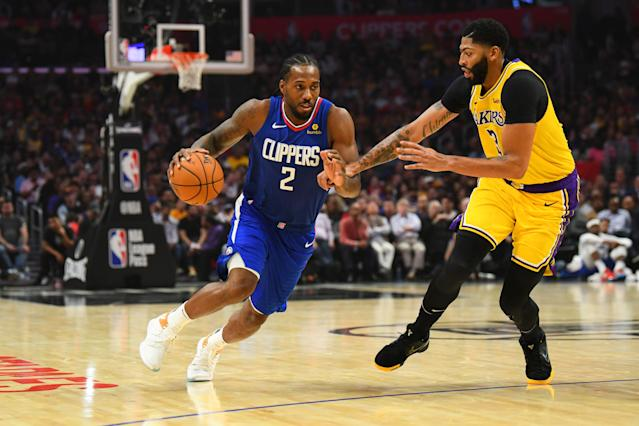 Kawhi Leonard, taking Anthony Davis off the dribble, was the best player on the court Tuesday night. (Photo by Brian Rothmuller/Icon Sportswire via Getty Images)