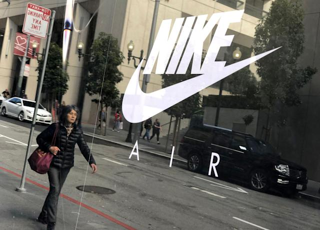 SAN FRANCISCO, CALIFORNIA - MARCH 21: The Nike logo is displayed on a window at a Nike store on March 21, 2019 in San Francisco, California. Nike will report third quarter earnings today after the closing bell of the New York Stock Exchange. (Photo by Justin Sullivan/Getty Images)