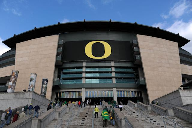 EUGENE, OR - NOVEMBER 16: A general view of Autzen Stadium before the game between the Oregon Ducks and the Utah Utes at Autzen Stadium on November 16, 2013 in Eugene, Oregon. (Photo by Steve Dykes/Getty Images)