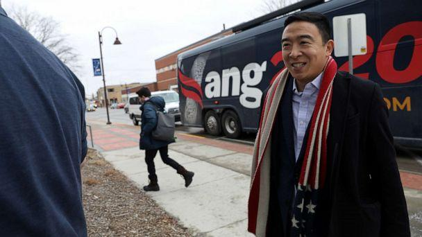 PHOTO: Democratic presidential candidate Andrew Yang arrives before he plays basketball with former congressional candidate J.D. Scholten in Ames, Iowa, on Dec. 12, 2019. (Brenna Norman/Reuters)