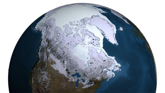 Every year the sea ice in the Arctic reaches its maximum extent in the Northern hemispheric winter, usually in mid-to-late March. This image shows the maximum for 2007.