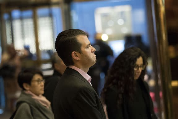 NEW YORK, NY - NOVEMBER 15: Donald Trump Jr. arrives in the lobby at Trump Tower, November 15, 2016 in New York City. President-elect Donald Trump is in the process of choosing his presidential cabinet as he transitions from a candidate to the president-elect. (Photo by Drew Angerer/Getty Images)