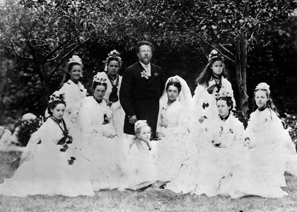 """<p>Bridesmaids back in the day were known to carry <a href=""""http://www.avictorian.com/weddingattire.html"""" rel=""""nofollow noopener"""" target=""""_blank"""" data-ylk=""""slk:bouquets of garlic, herbs, and grains"""" class=""""link rapid-noclick-resp"""">bouquets of garlic, herbs, and grains</a> to ward of the presence of evil spirits at the ceremony. </p>"""