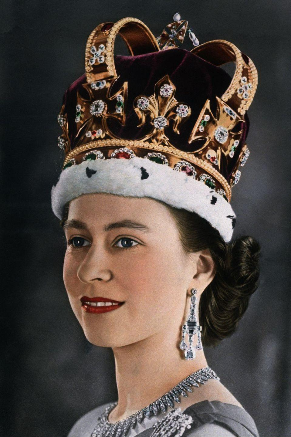 """<p>One perk of being the Queen: custom lipstick. Clarins created a special shade for the Queen in 1952 to match her coronation robes. She doesn't wear <a href=""""https://www.goodhousekeeping.com/beauty-products/lipsticks/g5085/matte-red-lipstick/"""" rel=""""nofollow noopener"""" target=""""_blank"""" data-ylk=""""slk:blue-red hues"""" class=""""link rapid-noclick-resp"""">blue-red hues</a> very often now, but the good news is you don't need a title to make your own anymore. Brands like <a href=""""https://www.bitebeauty.com/lip-labs"""" rel=""""nofollow noopener"""" target=""""_blank"""" data-ylk=""""slk:Bite Beauty"""" class=""""link rapid-noclick-resp"""">Bite Beauty</a> and <a href=""""https://www.findingferdinand.com/products/custom-lipstick-sample"""" rel=""""nofollow noopener"""" target=""""_blank"""" data-ylk=""""slk:Finding Ferdinand"""" class=""""link rapid-noclick-resp"""">Finding Ferdinand</a> currently offer <a href=""""https://www.goodhousekeeping.com/beauty/makeup/a47912/good-housekeeping-lipstick-rose-glow/"""" rel=""""nofollow noopener"""" target=""""_blank"""" data-ylk=""""slk:bespoke shades"""" class=""""link rapid-noclick-resp"""">bespoke shades</a> for surprisingly non-royal prices. </p>"""
