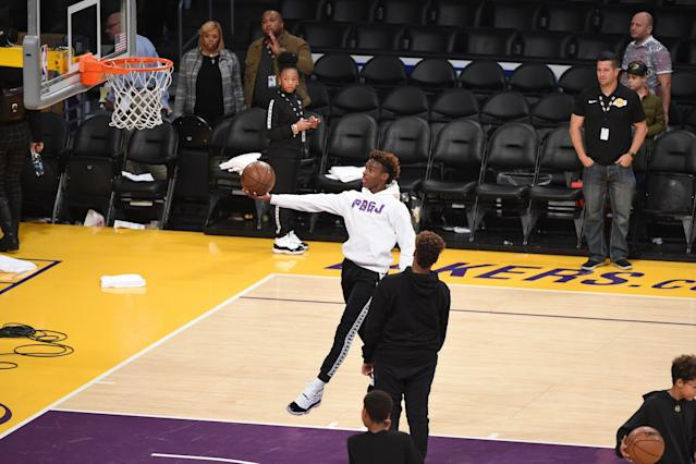 Bronny shoots around at Staples Center. (Photo by Adam Pantozzi/NBAE via Getty Images)