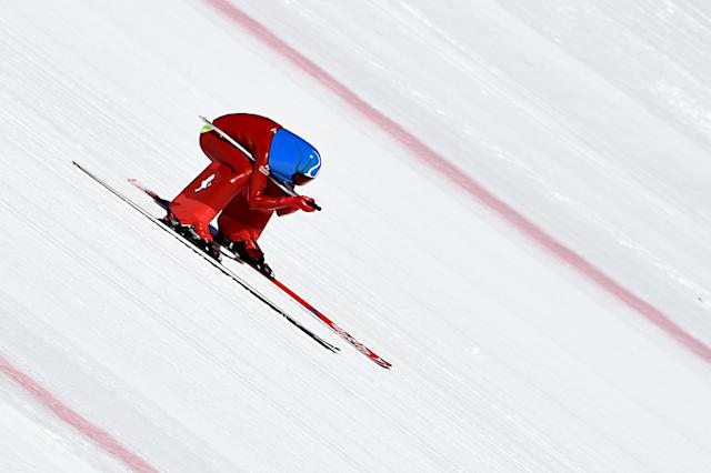 <p>Bombing down the side of a mountain at speeds in excess of 140 miles per hour, what could go wrong? A lot in fact. Speed skiing was a demonstration event at the 1992 Games in Albertville. Tragically, it was at those Games that Swiss speed skiier Nicholas Bochatay died during a practice run. (Getty) </p>