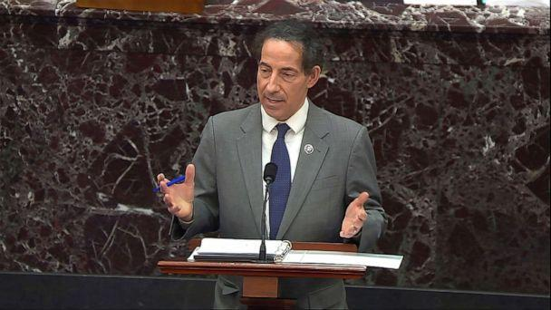 PHOTO: In this image from video, House impeachment manager Rep. Jamie Raskin, D-Md., speaks during the second impeachment trial of former President Donald Trump in the Senate at the U.S. Capitol in Washington, D.C., Feb. 10, 2021. (Senate Television via AP)