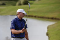 Steve Stricker reacts after missing his birdie putt to drop a stroke to Alex Cejka in a playoff during the final round of the Regions Tradition Champions Tour golf tournament Sunday, May 9, 2021, in Hoover, Ala. (AP Photo/Butch Dill)