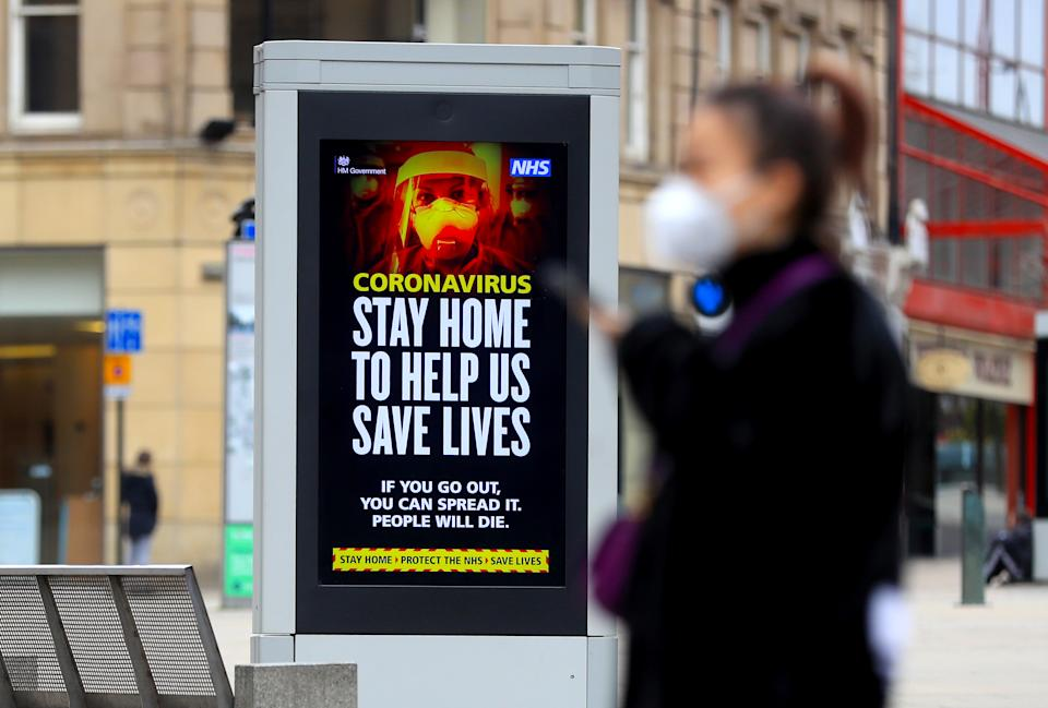 Electronic bilboards displays a message warning people to stay home in Sheffield as the UK continues in lockdown to help curb the spread of the coronavirus.