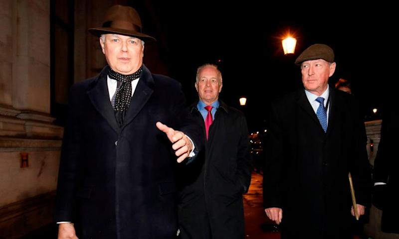 Iain Duncan Smith (left), Peter Lilley (centre) and David Trimble leave after a meeting in Downing Street on Monday night.