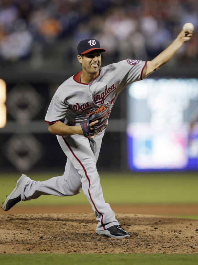 Washington Nationals' Gio Gonzalez pitches during the third inning of a baseball game against the Philadelphia Phillies, Tuesday, Sept. 3, 2013, in Philadelphia. (AP Photo/Matt Slocum)