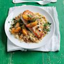 """<p>Sweet summer peaches perfectly complement juicy, seared chicken breast.</p><p><a href=""""https://www.womansday.com/food-recipes/food-drinks/recipes/a55776/chicken-with-peaches-and-ginger-recipe/"""" rel=""""nofollow noopener"""" target=""""_blank"""" data-ylk=""""slk:Get the recipe for Chicken with Peaches and Ginger."""" class=""""link rapid-noclick-resp""""><u><em>Get the recipe for Chicken with Peaches and Ginger.</em></u></a></p>"""