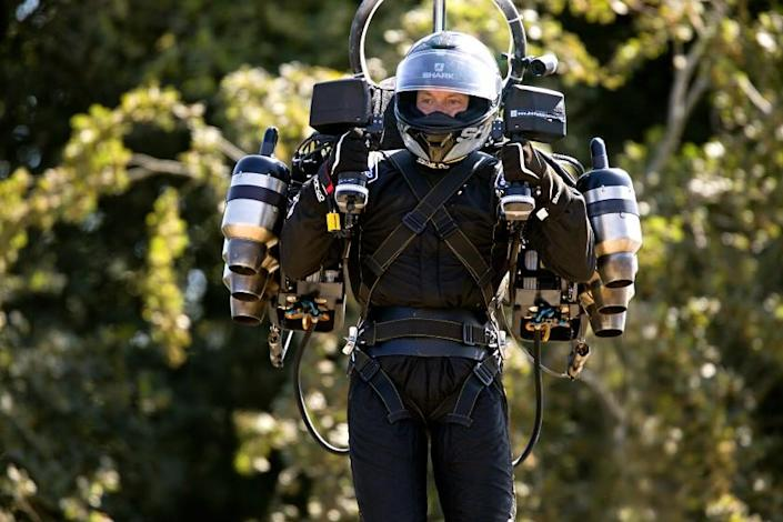 David Mayman flies up the Goodwood Hill displaying his JB11 JetPack .