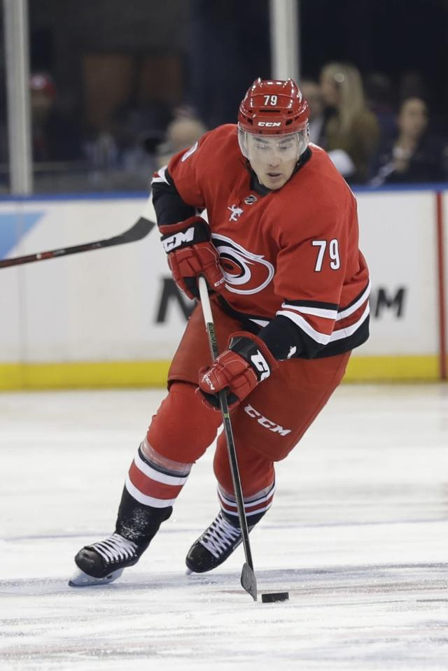 Carolina Hurricanes' Micheal Ferland (79) during the first period of an NHL hockey game against the New York Rangers Friday, Feb. 8, 2019, in New York. (AP Photo/Frank Franklin II)