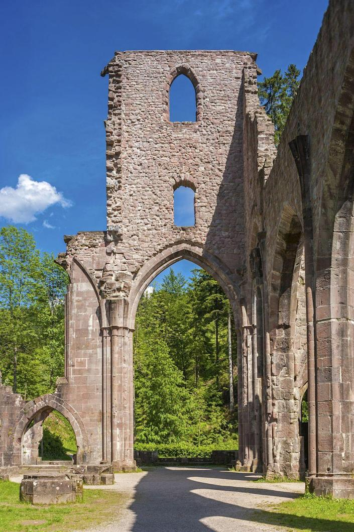 """<p>Located in the German <a href=""""http://www.atlasobscura.com/places/kloster-allerheiligen"""" rel=""""nofollow noopener"""" target=""""_blank"""" data-ylk=""""slk:Black Forest"""" class=""""link rapid-noclick-resp"""">Black Forest</a>, this church was first built in 1192 and has been struck by lightening and burnt up to three times since—which is why it was eventually left in its current form as ruins.</p>"""