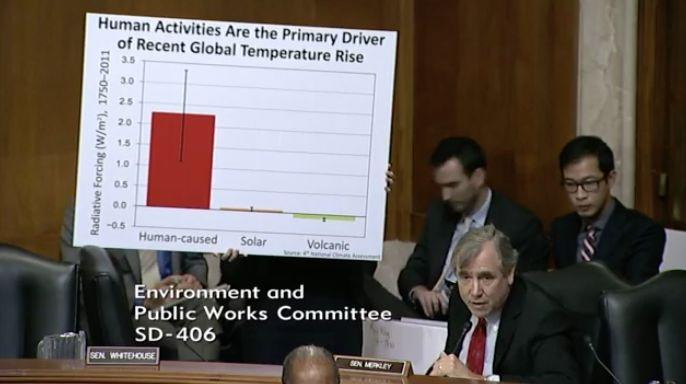 A staffer for Sen. Jeff Merkley (D-Ore.) holds up a sign citing data from the federal government's latest climate change report, released by the Trump administration.