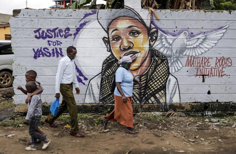 A mural dedicated to Yassin Moyo in the Nairobi slums