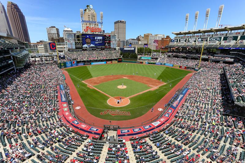 CLEVELAND, OH - JUNE 26: A general view from the upper deck during the first inning of the Major League Baseball game between the Kansas City Royals and Cleveland Indians on June 26, 2019, at Progressive Field in Cleveland, OH. (Photo by Frank Jansky/Icon Sportswire via Getty Images)