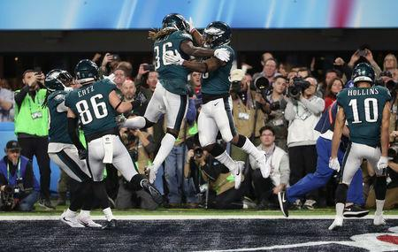 NFL Football - Philadelphia Eagles v New England Patriots - Super Bowl LII - U.S. Bank Stadium, Minneapolis, Minnesota, U.S. - February 4, 2018. Philadelphia Eagles' Corey Clement celebrates scoring a touchdown with Jay Ajayi. REUTERS/Chris Wattie
