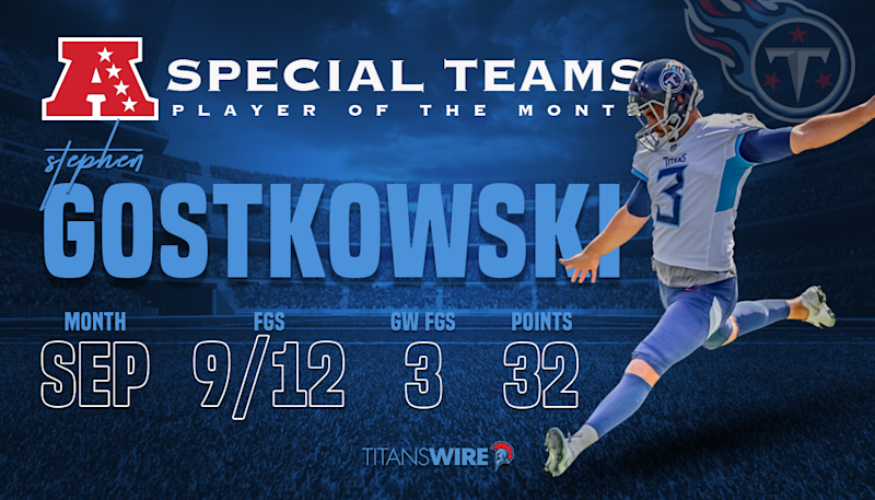 Titans' Stephen Gostkowski named AFC Special Teams Player of the Month