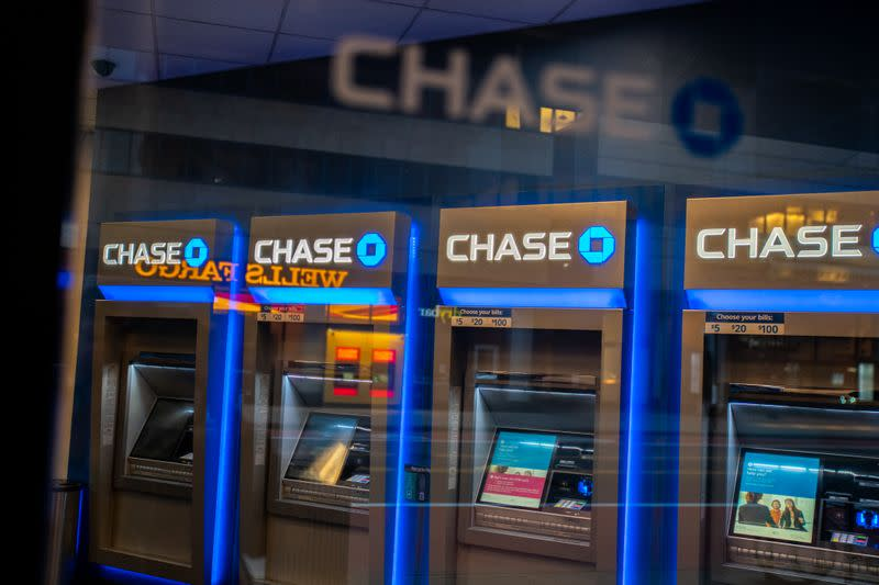 Chase ATM machines are seen in New York