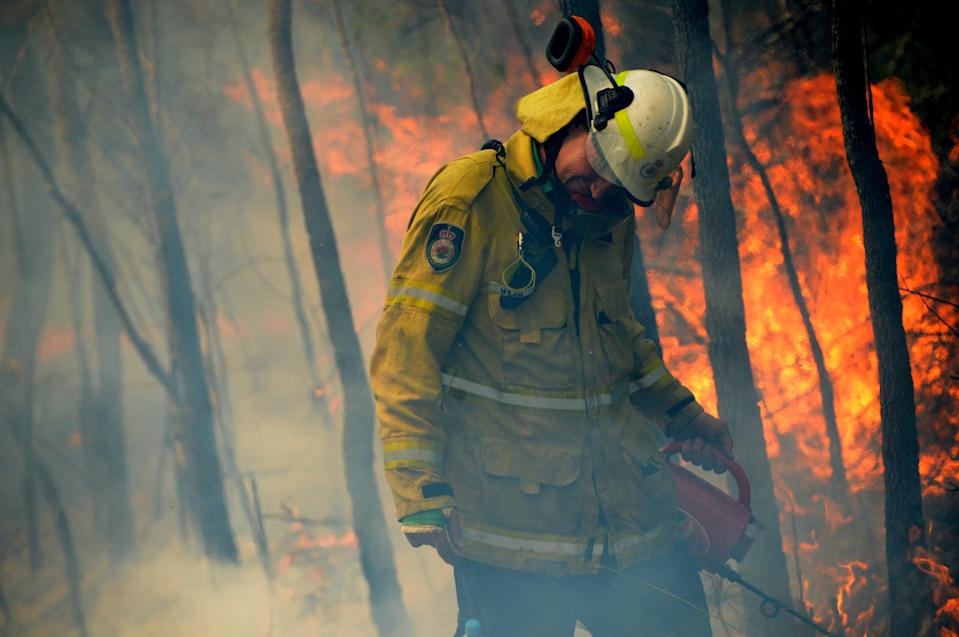 NSW Rural Fire fighters establish a backburn  in Mangrove Mountain, New South Wales.