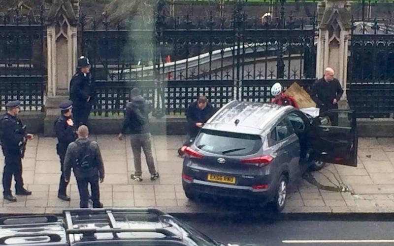 The vehicle rammed into a perimeter fence outside the Palace of Westminster - Credit: Lukesteele4/Twitter