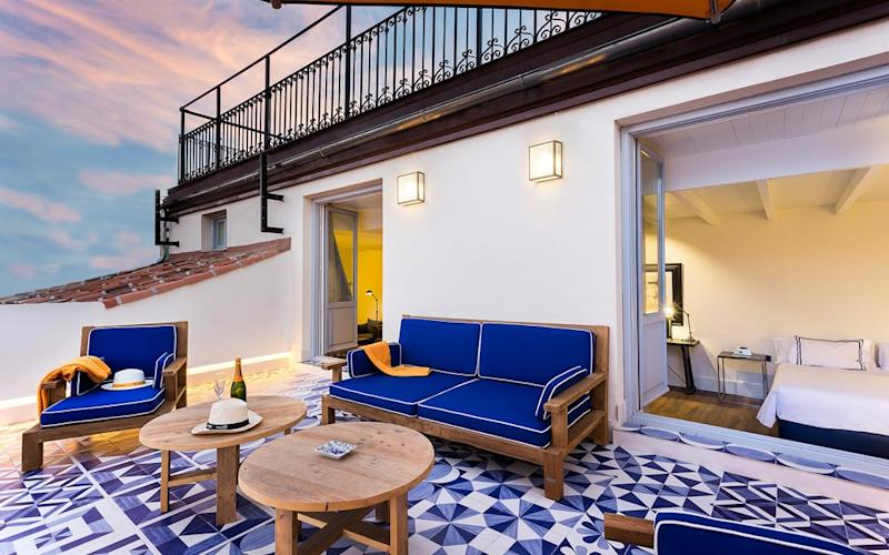 The rooms at Only You Madrid have a pleasing blue-and-yellow colour scheme; some over large private terraces overlooking the city
