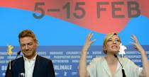 """British director Kenneth Branagh (L) and Australian actress Cate Blanchett attend a press conference for the film """"Cinderella"""" presented in competition of the 65th Berlin International Film Festival Berlinale in Berlin, on February 13, 2015. AFP PHOTO / JOHN MACDOUGALL (Photo credit should read JOHN MACDOUGALL/AFP via Getty Images)"""